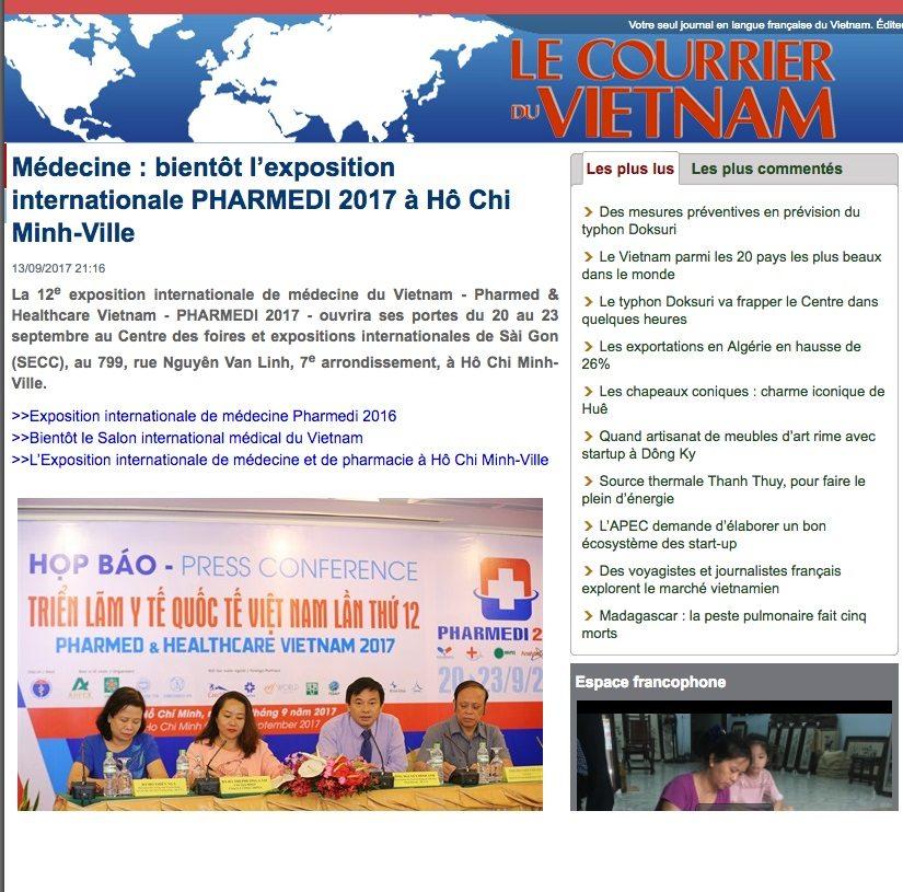 LE COURRIER DU VIETNAM: Médecine : bientôt l'exposition internationale PHARMEDI 2017 à Hô Chi Minh-Ville
